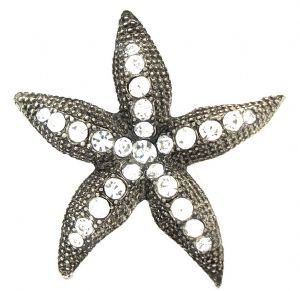 Vintage Dazzling Clear White Rhinestone Starfish Brooch / Pin